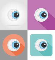 halloween eyeball platt ikoner vektor illustration