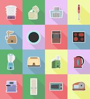 hushållsapparater för kök platt ikoner vektor illustration