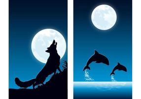 Tiere am Nachtvektor-Tapeten-Satz zwei