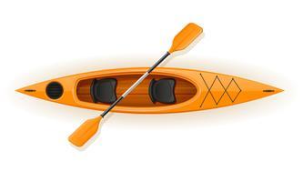 Kajak aus Kunststoff für Fischerei und Tourismus-Vektor-Illustration