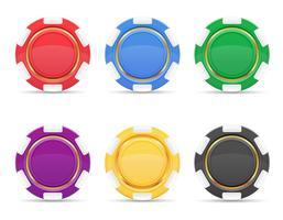 färgad casino chips vektor illustration
