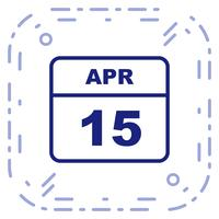 15. April Datum an einem Tageskalender