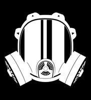 Schwarzweiss-Vektorillustration der Ikone Gasmaske