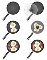 ställa in ikoner stekt ägg i en stekpanna vektor illustration