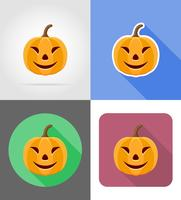 Ikonen-Vektorillustration des Halloween-Kürbises flache