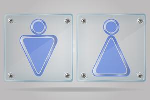 transparente Zeichenmann und Frauentoiletten auf der Plattenvektorillustration