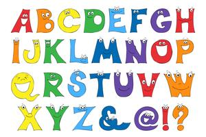 Kinderbriefe in der Karikatur. Satz mehrfarbige helle Buchstaben für Aufschriften.