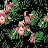 Vector Hand gezeichnetes nahtloses Muster mit stilisierter Orchideenniederlassung für Ihr Design auf dem schwarzen Hintergrund