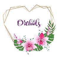 Floral design geometrisk ram. Orchid, eukalyptus, grönska. Bröllopskort.