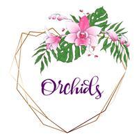 Blumenmuster geometrischen Rahmen. Orchidee, Eukalyptus, Grün. Hochzeitskarte.