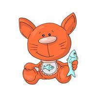 Süße Katze. Hand gezeichnete kleine Miezekatze des Portraits mit Gläsern