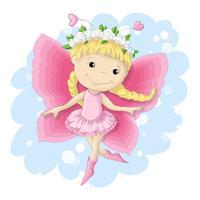 Söt fjärilsflicka i en rosa klänning. vektor