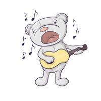 Ein singender niedlicher Karikaturbär mit einer Gitarre.