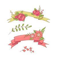Weinlese-Blumenband. Hand gezeichnete Gekritzelfahne mit wilden Blumen.