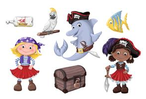 Gullig tecknad flicka pirat vektor illustration. Barn pirater.