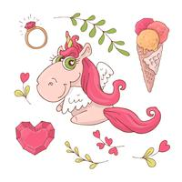 Set med söt tecknad enhörning för Alla hjärtans dag med tillbehör. vektor
