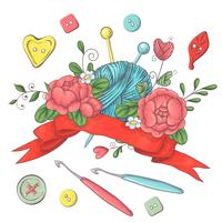 Set für handgemachte Logo-Vorlage, Elemente und Zubehör zum Häkeln und Stricken