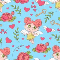 Alla hjärtans dag sömlösa mönster. Sats av kärlek och romantisk bakgrund