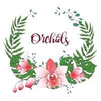 Blumenmusterrahmen. Orchidee, Eukalyptus, Grün. Hochzeitskarte.