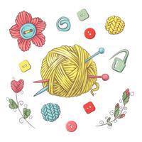 Set för handgjord boll av garn och tillbehör för hakning och stickning.