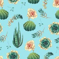 Handritat dekorativt sömlöst mönster med kaktus och succulenter