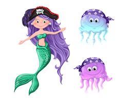 Härliga tecknade figurer - en sjöjungfru och maneter i piratmössor. vektor