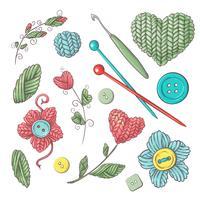 Set för handgjorda stickade blommor och element och tillbehör för hakning och stickning.