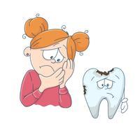Kunst zum Thema Kinderzahnmedizin. Nettes Karikaturmädchen und ein schlechter Zahn.