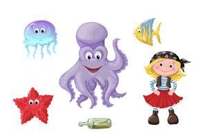 Sats av roliga tecknade söta barn av pirater och havsinvånare.