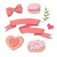 Set med söta tecknadsprodukter för Alla hjärtans dag med tillbehör. vektor