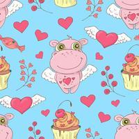 Valentinstag nahtlose Muster. Set Liebe und romantische Hintergründe