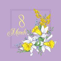 8. März Grußkartenvorlage für Frauen. Erstaunliche blaue grüne Zahl acht. Vektor. vektor