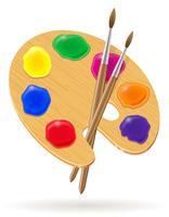 Palette für Farben und Pinsel Vektor-Illustration vektor