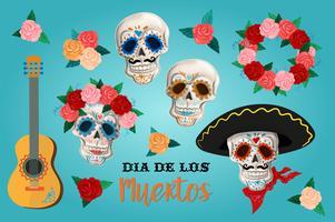 Inbjudan inställd till dagen för den döda parten. Dea de los muertos kort med skelett och rosor.