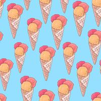 Seamless mönster med popsicle glass och ett horn i stil med doodle. Handritning. vektor