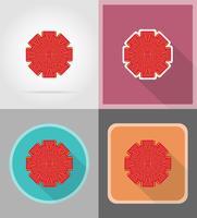 röd båge för gåva platt ikoner vektor illustration