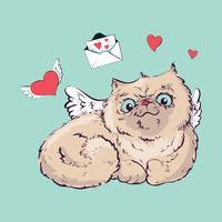 Angel katt vektor illustration grafik.