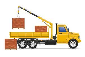 Fracht-LKW-Lieferung und Transport von Baustoffen Konzept Vektor-Illustration