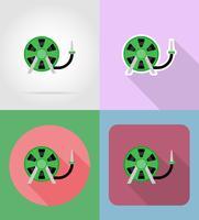trädgårdsredskap slang för vattning platt ikoner vektor illustration