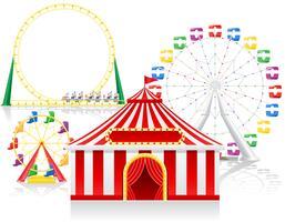 cirkus tält och attraktioner vektor illustration