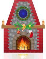 Kamin mit Weihnachtsdekorationen-Vektorillustration vektor