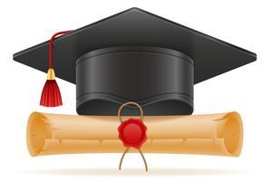 akademisk examen mortarboard fyrkantig cap vektor illustration