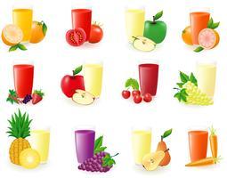 uppsättning ikoner med fruktjuice vektor illustration