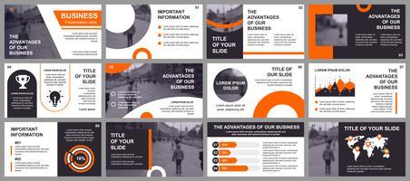 Företagspresentation glider mallar från infografiska element. Kan användas för presentationsmall, flygblad och broschyr, broschyr, företagsrapport, marknadsföring, reklam, årsrapport, banner.