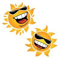 Helle lächelnde glückliche Sun-Karikatur-Vektor-Illustrationen vektor
