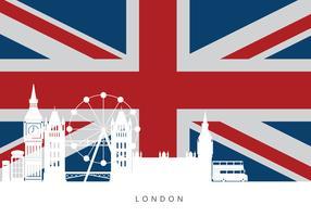 London City Skyline mit berühmten Gebäuden und England Flagge vektor