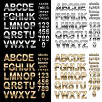 Chrome und Goldeffektalphabetguß mit Buchstaben und Zahlen, Vektor