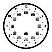 12 bis 24 Stunden-Militärzeit-Uhr-Umwandlungs-Schablone lokalisierte Vektor-Illustration vektor