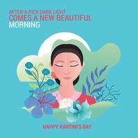 Kartini Day, RA Kartini är den kvinnliga figuren och kvinnans hjältar i Indonesien vektor