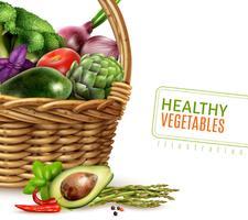 Friska grönsaker i korg vektor